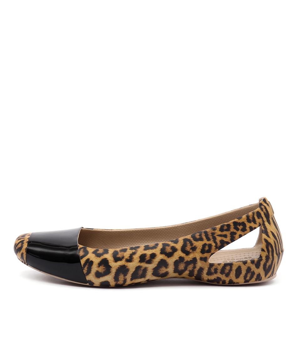 Crocs Sienna Leopard Shiny Leopard Black Flats