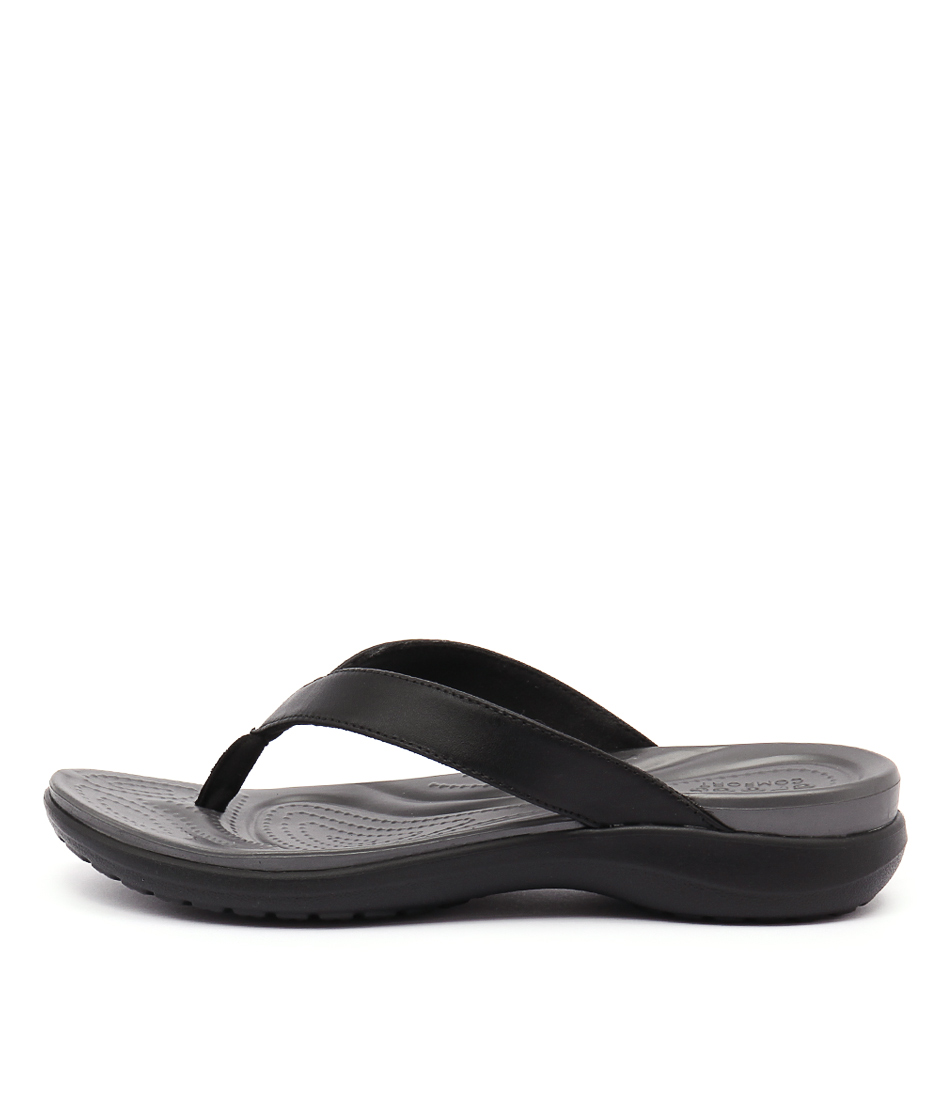 Crocs Capri V Flip Black Graphite Heeled Sandals