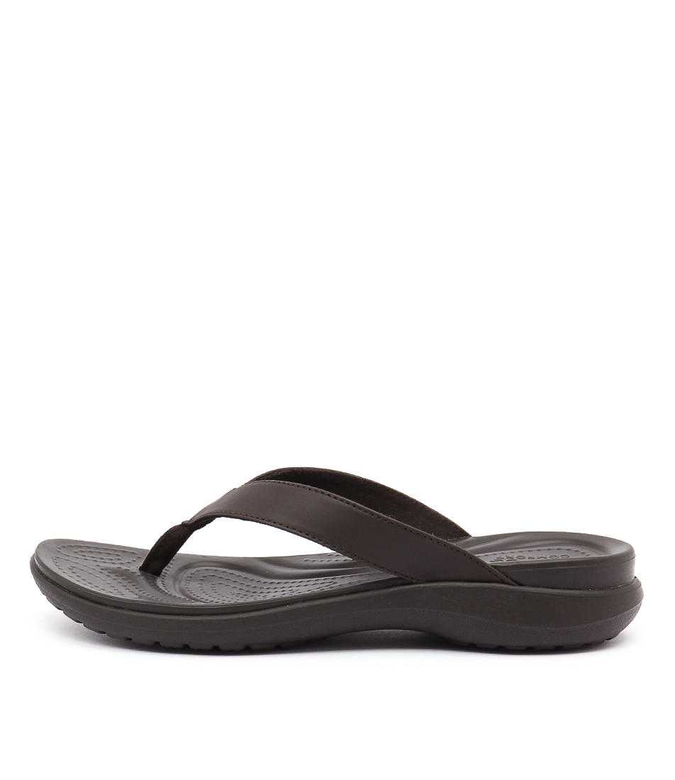 Crocs Capri V Flip Espresso Casual Heeled Sandals
