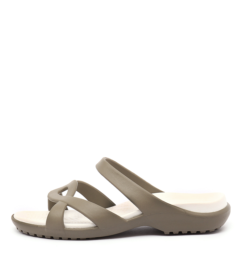 Buy Crocs Meleen Twist Sandal Khaki Oyster Flat Sandals online with free shipping
