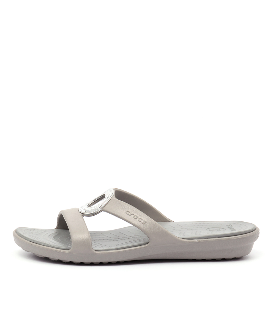Crocs Sanrah Beveled Platinum Silver Sandals