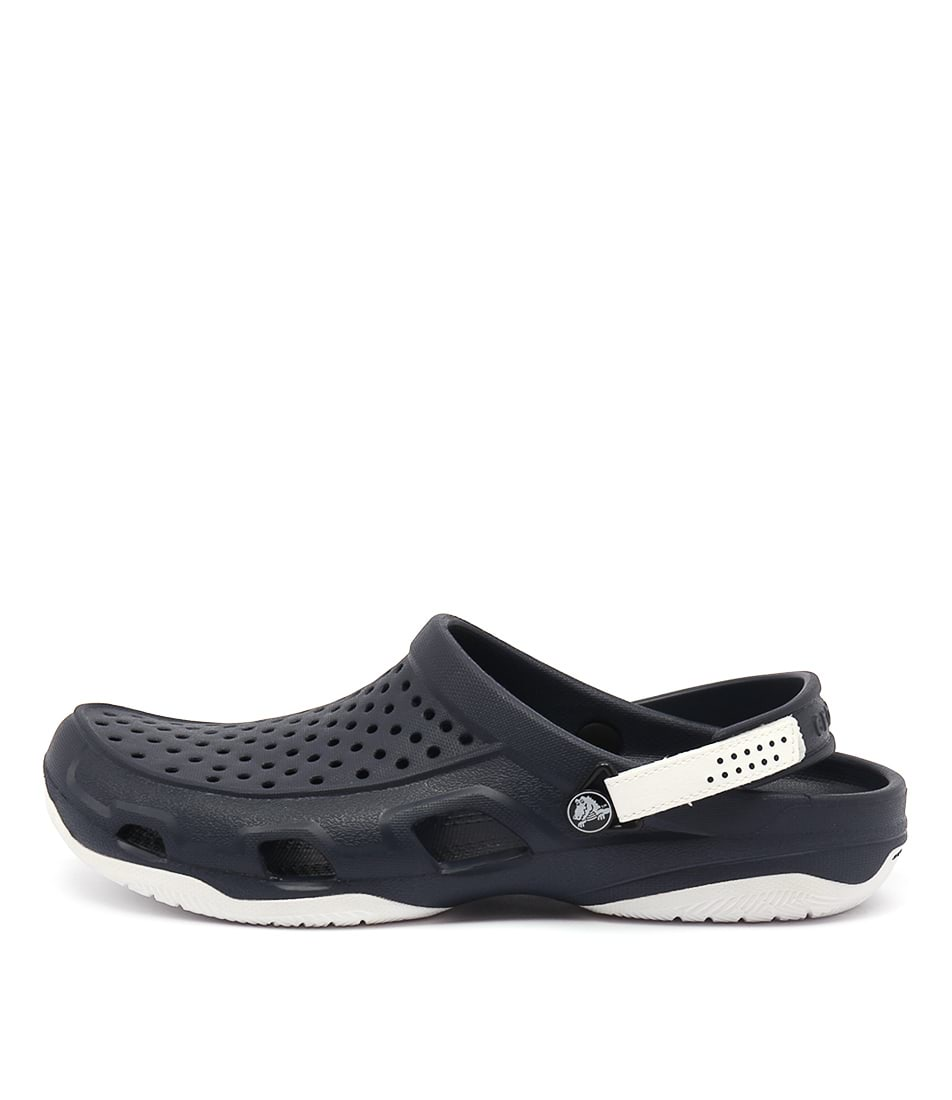 cdafd598a24a1 New Crocs Swiftwater Deck Clog Navy White Mens Shoes Casual Sandals ...