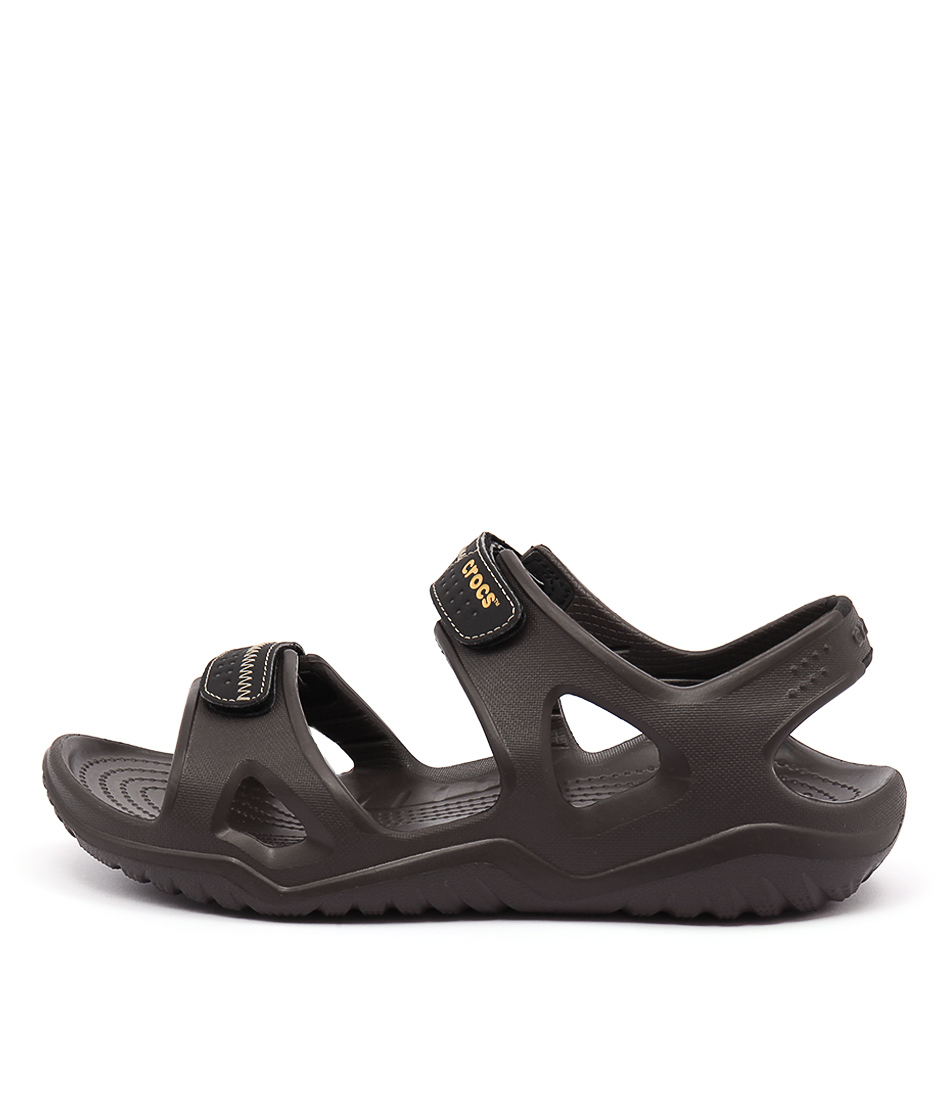 Buy Crocs 203998 Swiftwater Cc Espresso Black Flat Sandals online with free shipping
