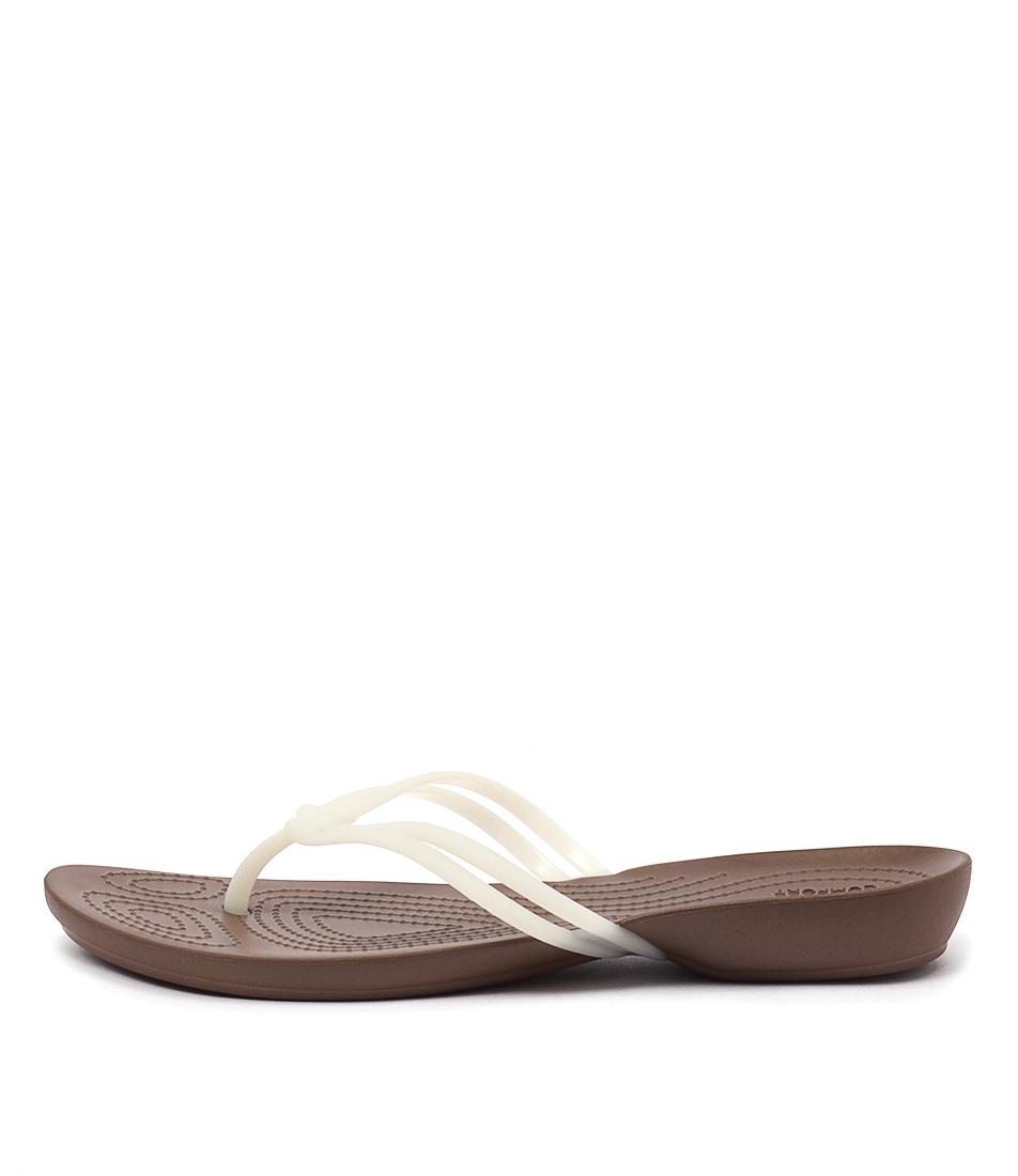Crocs Isabella Flip White Bronze Casual Flat Sandals