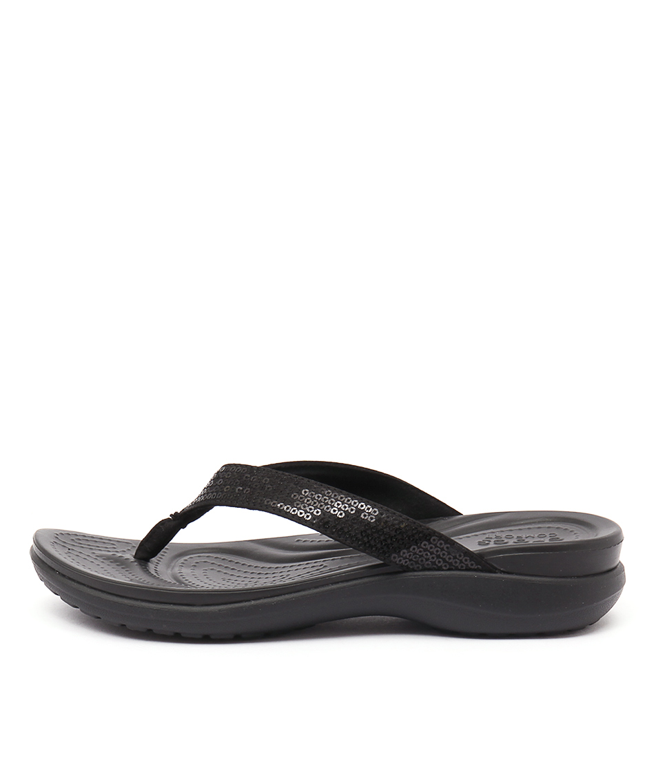 Crocs Capri V Sequin Black Casual Flat Sandals