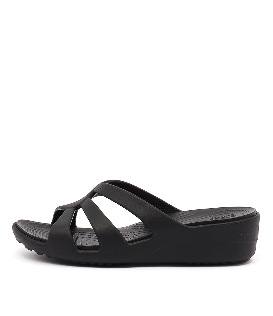Buy Crocs Sanrah Strappy Wedge Black Heeled Sandals online with free shipping