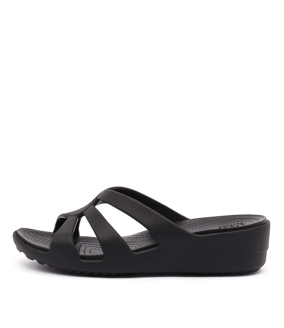 Crocs Sanrah Strappy Wedge Black Heeled Sandals