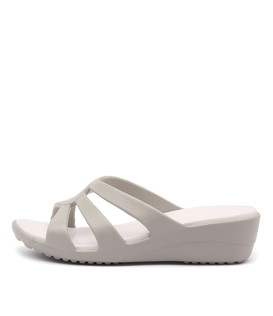 Crocs Sanrah Strappy Wedge Platinum Heeled Sandals