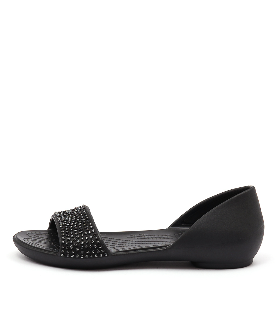 Crocs Lina Embellished Dorsay Black Sandals