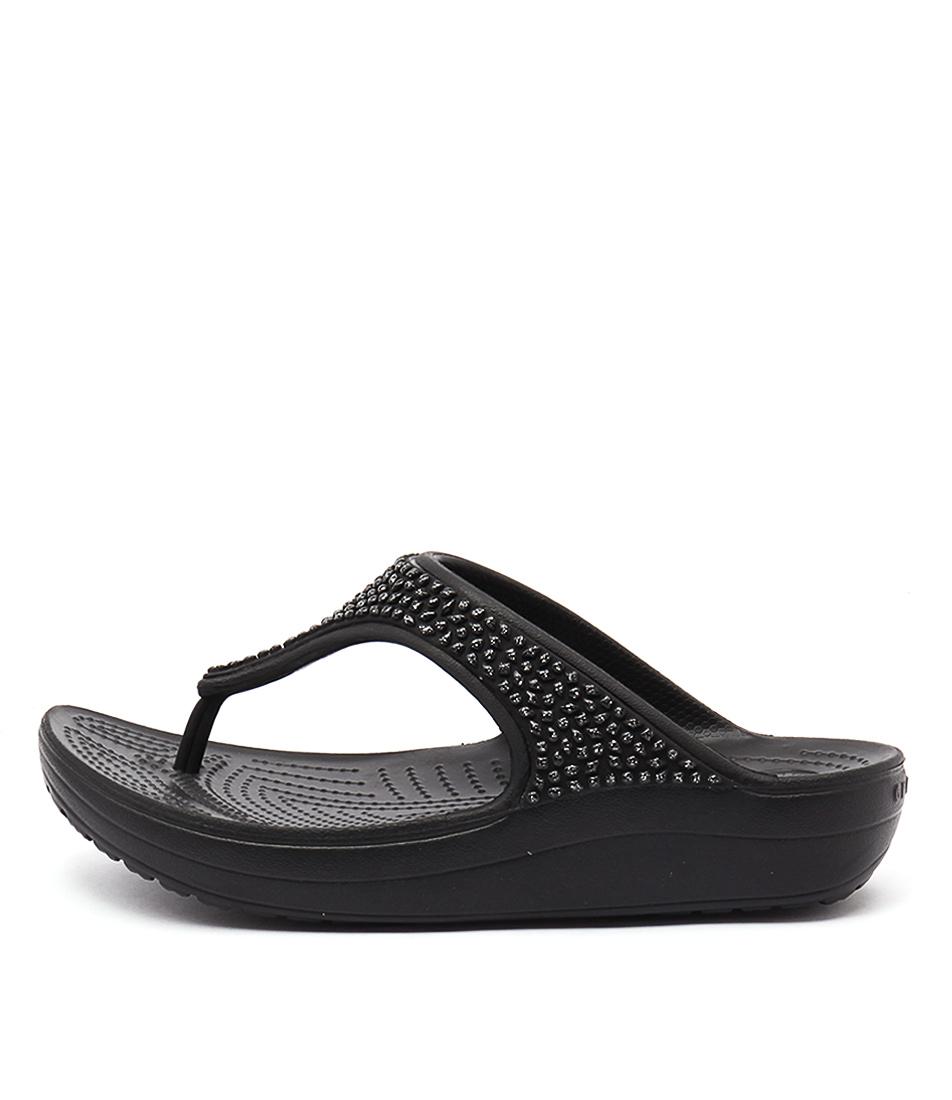 Crocs Sloane Embellished Flip Black Casual Heeled Sandals