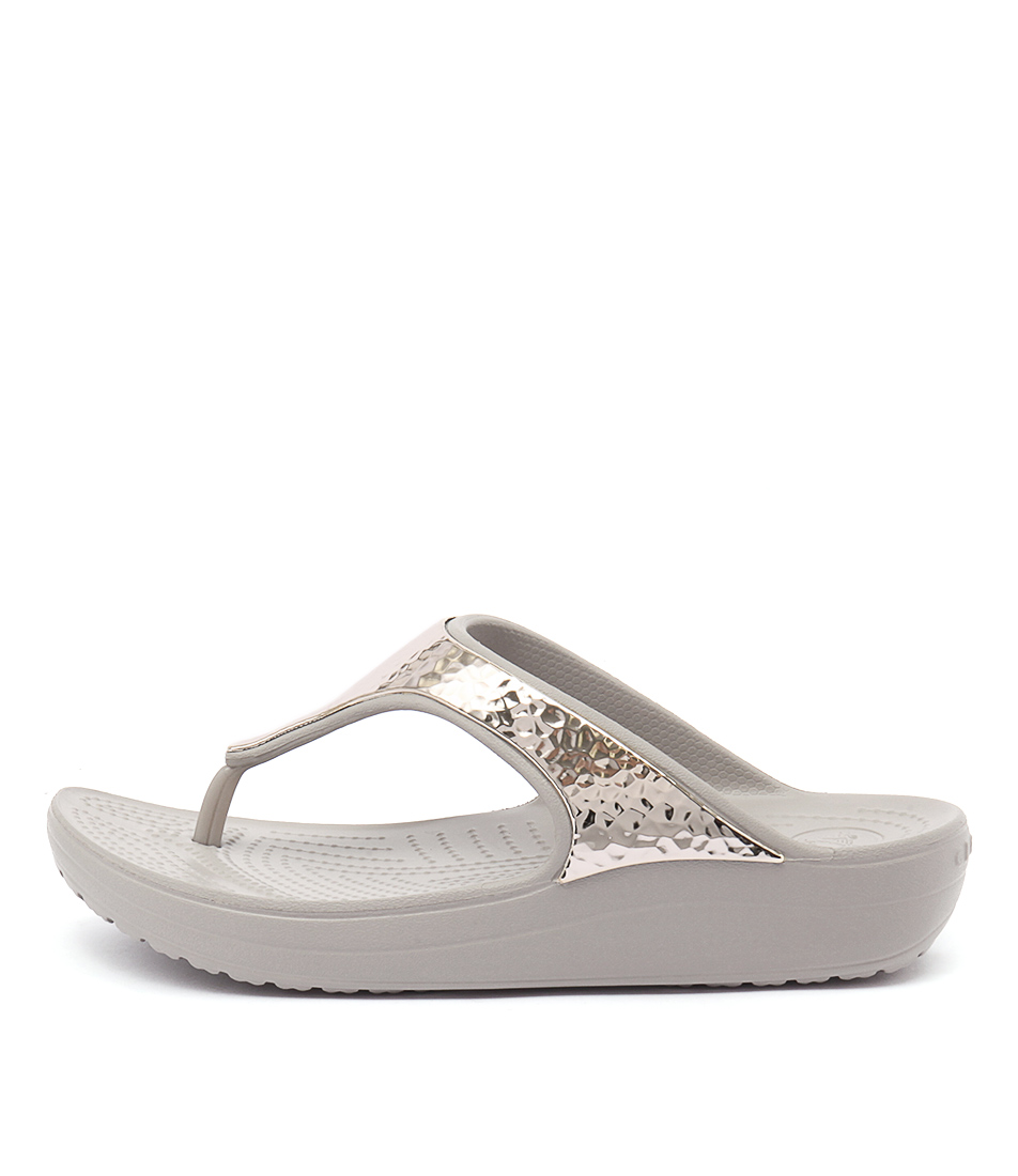 Crocs Sloane Embellished Flip Platinum Sandals