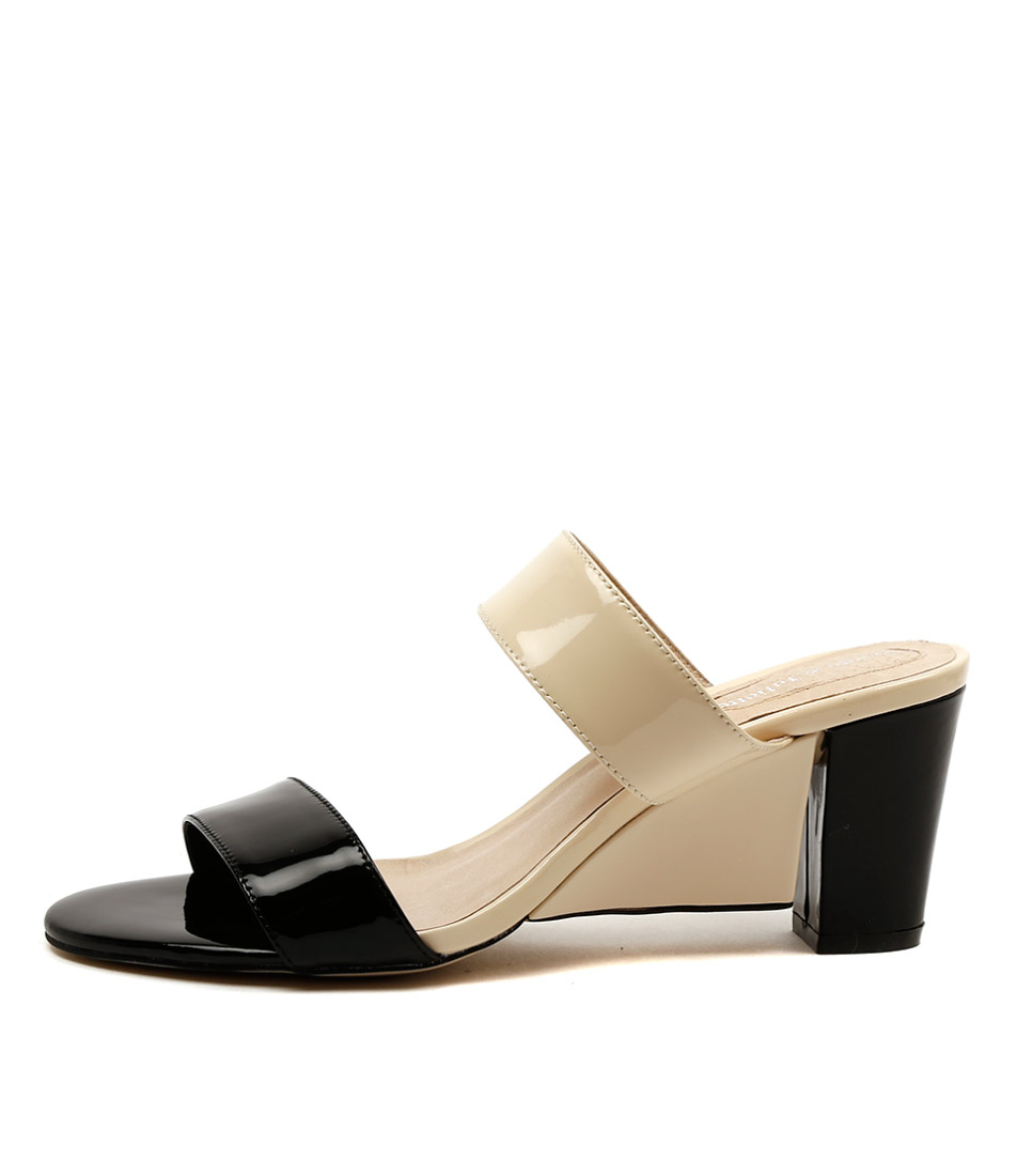 Django & Juliette Dekker Black Beige Casual Heeled Sandals