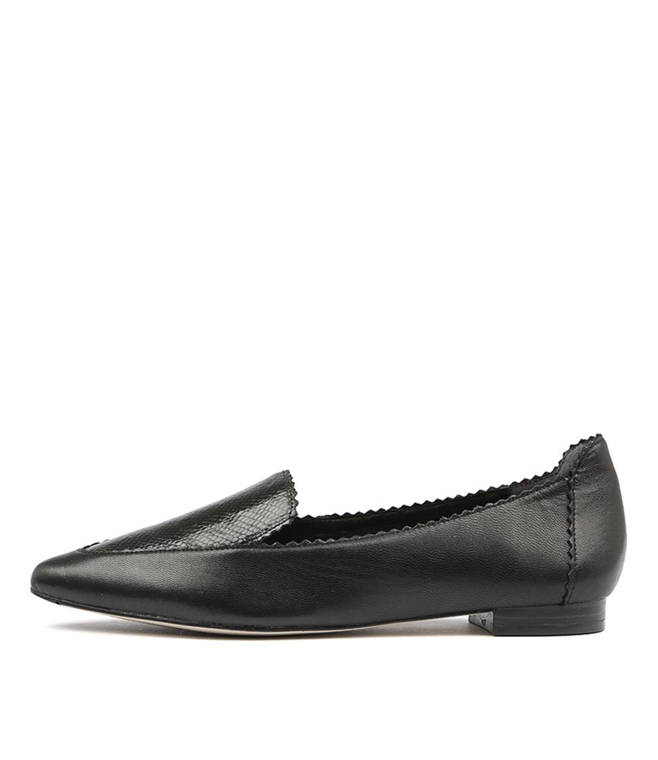Diana Ferrari Cattee Black Snake Flat Shoes