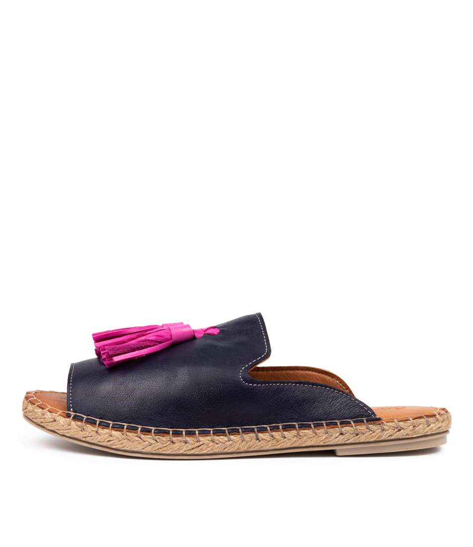 Buy Diana Ferrari Cryptic Df Marino (Navy) Magenta Flat Sandals online with free shipping