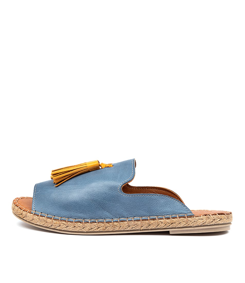 Buy Diana Ferrari Cryptic Df Jeans Ocre (Blue Yellow) Flat Sandals online with free shipping