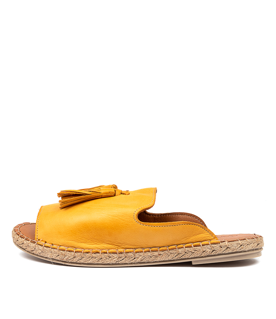 Buy Diana Ferrari Cryptic Df Ocre (Yellow) Flat Sandals online with free shipping
