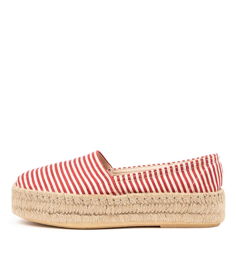 Buy Diana Ferrari Gaylan Df Rojo (Red) Stripe Flats online with free shipping