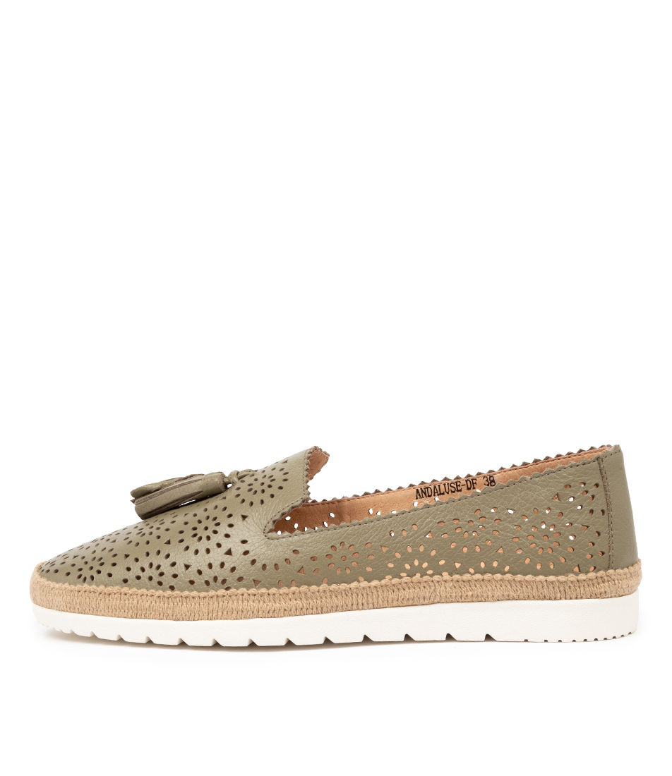 Buy Diana Ferrari Andaluse Df Khaki Flats online with free shipping