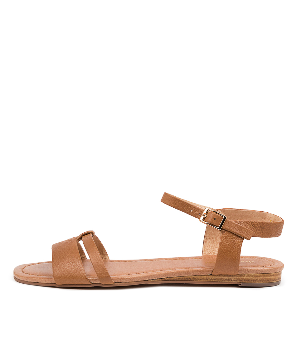 Buy Diana Ferrari Yaizu Df Dk Tan Flat Sandals online with free shipping