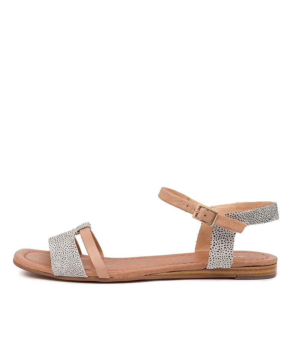 Buy Diana Ferrari Yaizu Df White Dot Dk Nude Flat Sandals online with free shipping