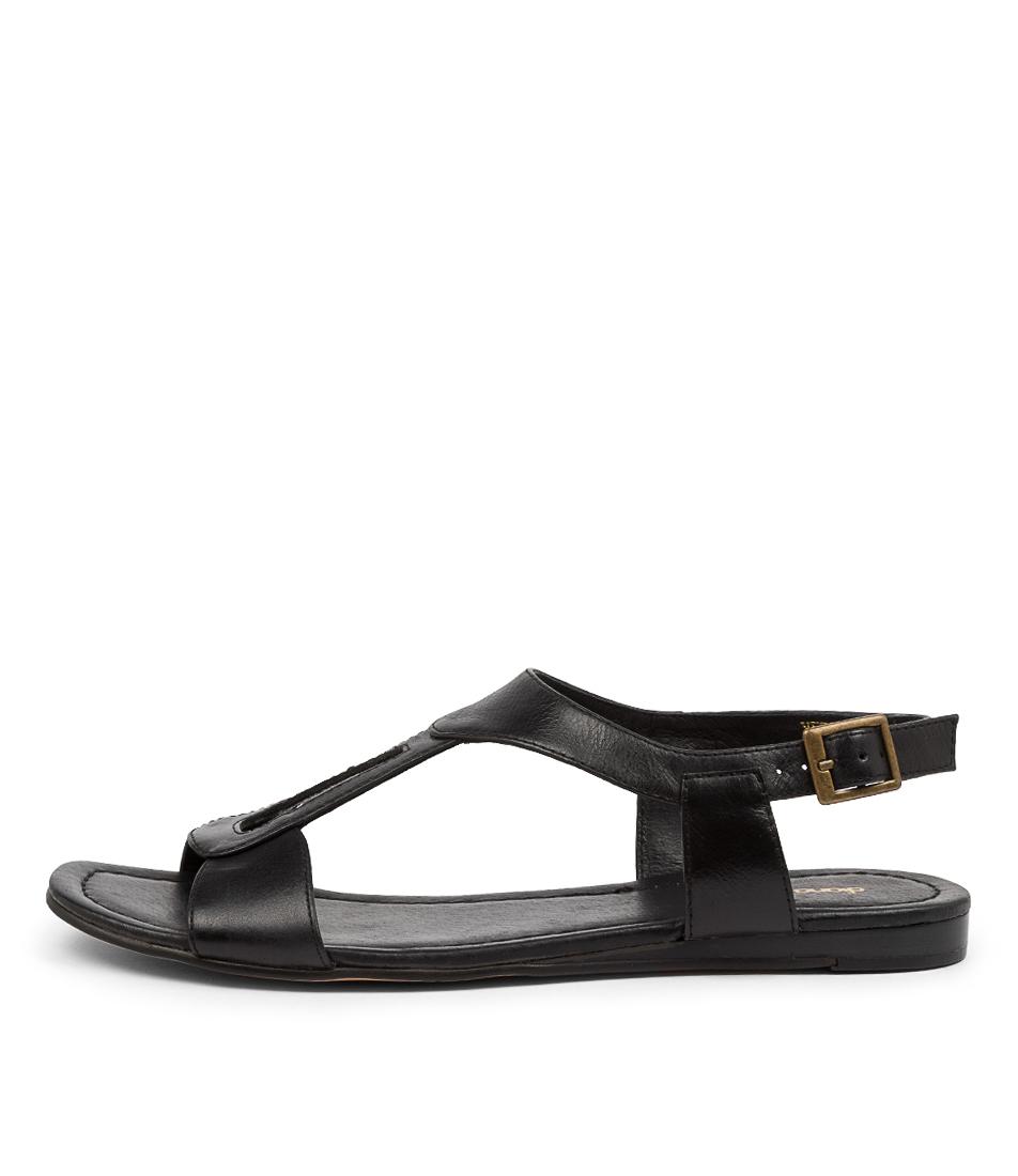 Buy Diana Ferrari Yermo Df Black Flat Sandals online with free shipping