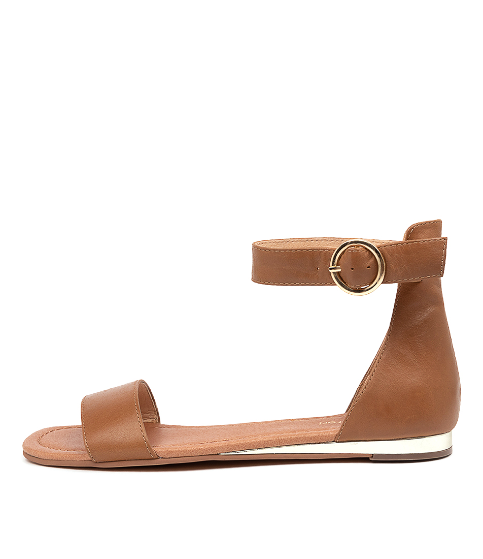 Buy Diana Ferrari Zanes Df Tan Flat Sandals online with free shipping