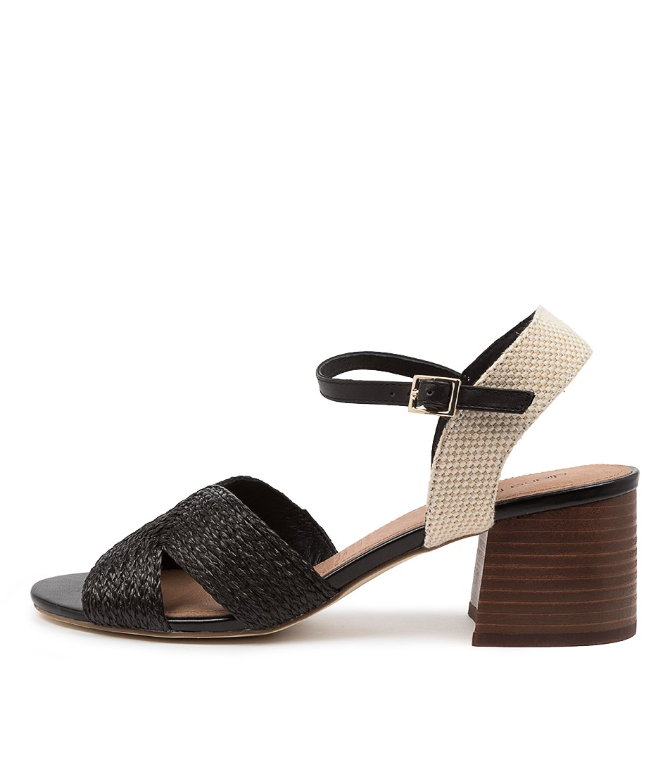 Buy Diana Ferrari Baker Df Black Woven Multi Heeled Sandals online with free shipping