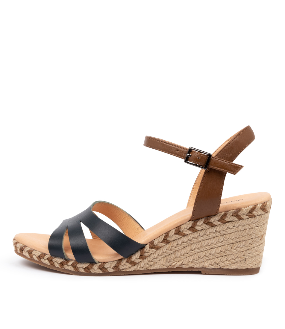Buy Diana Ferrari Humphrey Df Navy Dk Tan Heeled Sandals online with free shipping