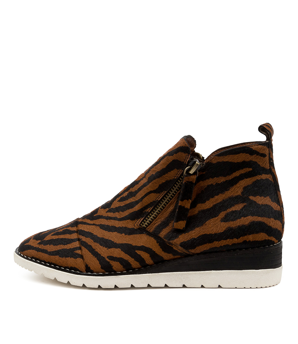 Buy Diana Ferrari Bycra Df Tan Zebra Ankle Boots online with free shipping