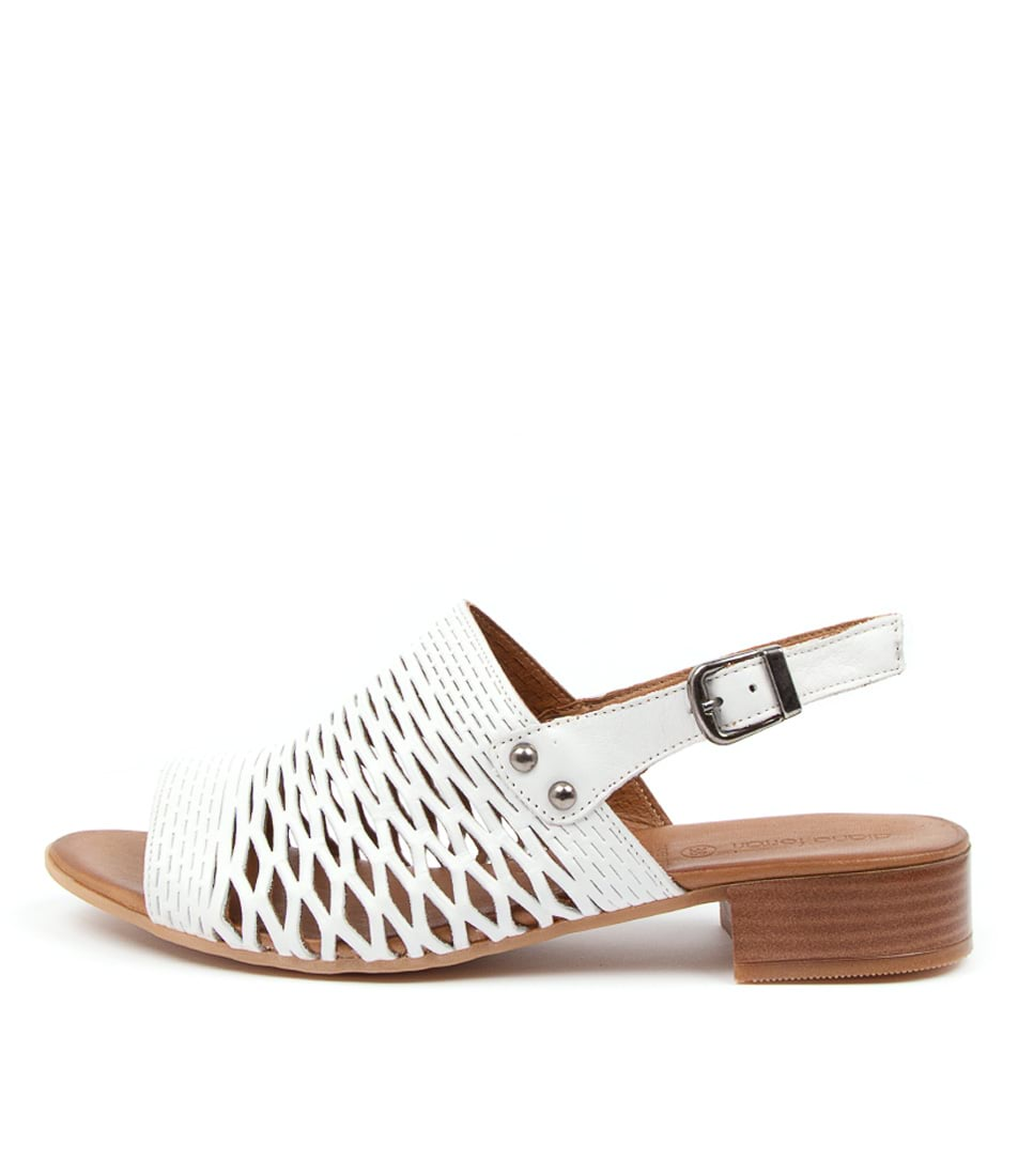 Buy Diana Ferrari Capris Df White Heeled Sandals online with free shipping