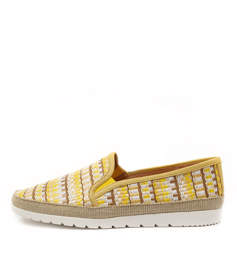 Buy Diana Ferrari Aellan Df Yellow Stripe Flats online with free shipping