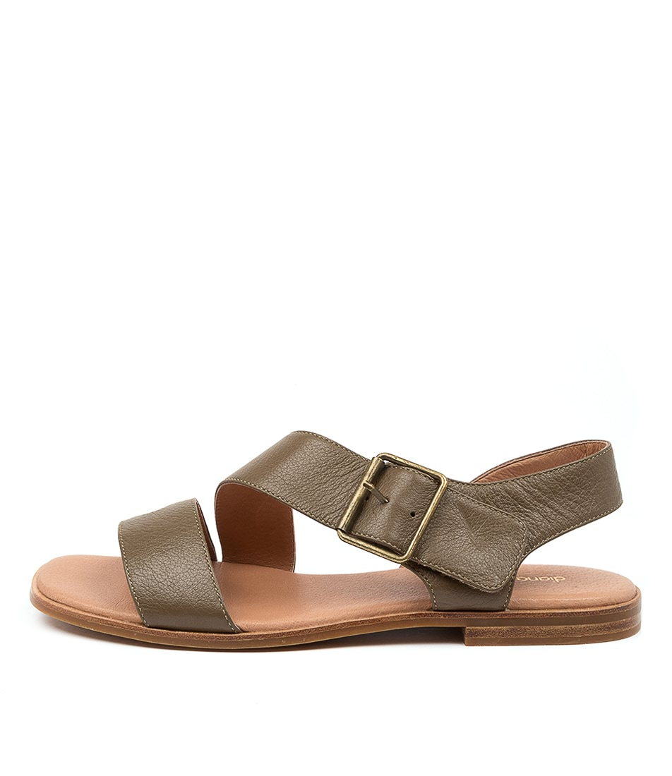 Buy Diana Ferrari Arko Df Olive Flat Sandals online with free shipping