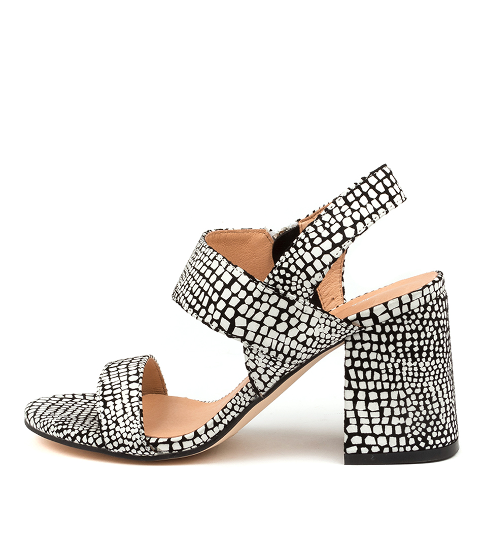 Buy Diana Ferrari Melopy Df Black & White Print Heeled Sandals online with free shipping