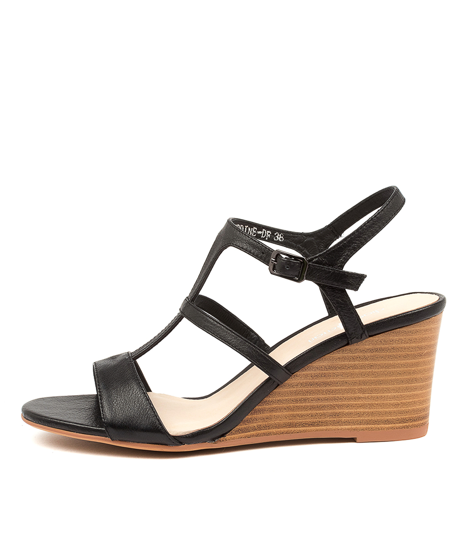 Buy Diana Ferrari Seddine Df Black Natural Heel Heeled Sandals online with free shipping