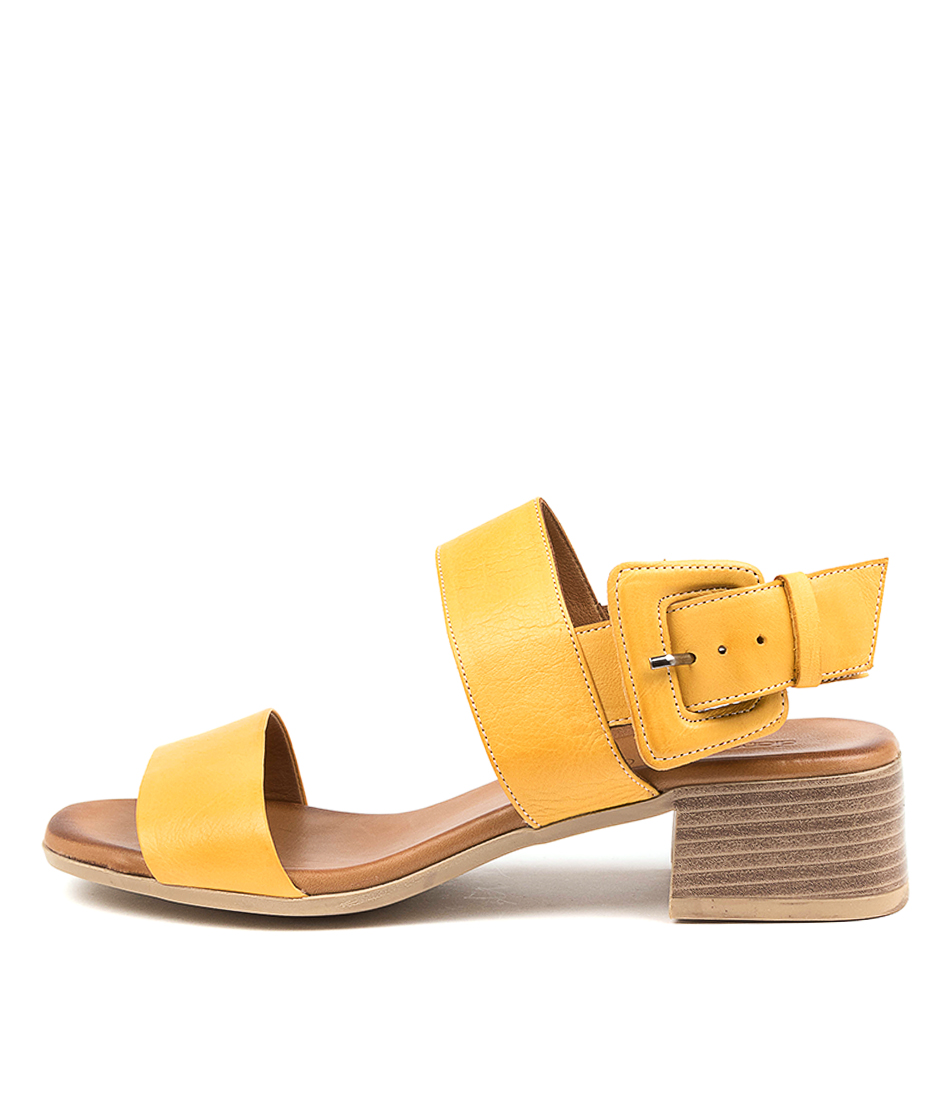 Buy Diana Ferrari Tryme Df Dk Yellow Tan Heeled Sandals online with free shipping