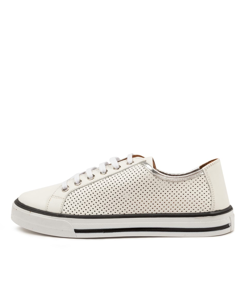 Buy Diana Ferrari Deborese Df White Silver Sneakers online with free shipping