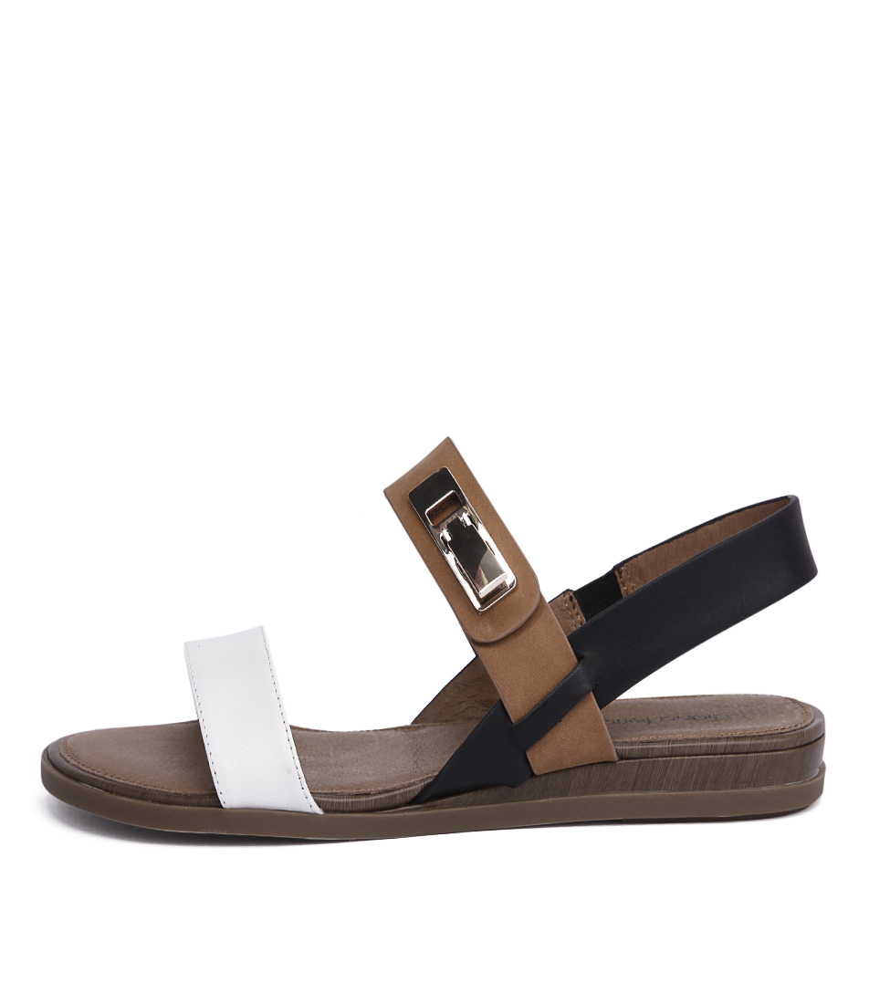 Diana Ferrari Elke White Tan Black Sandals