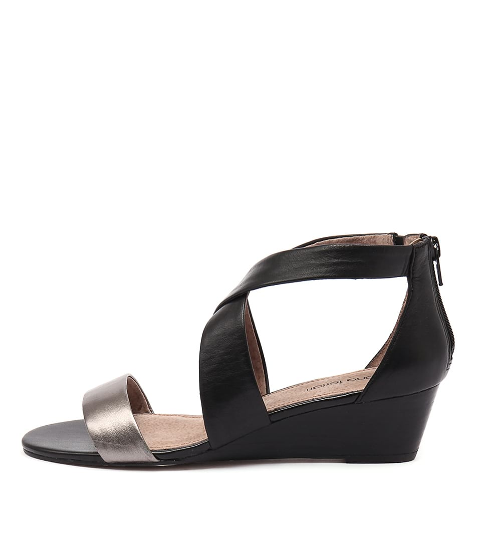 Diana Ferrari Jeune Gunmetal Black Casual Heeled Sandals