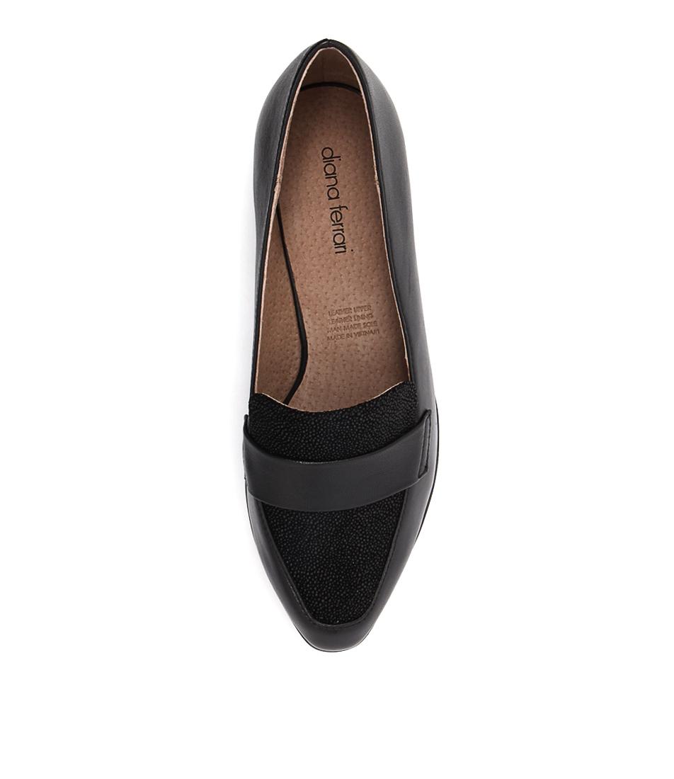 New-Diana-Ferrari-Anja-Black-Drops-Womens-Shoes-Casual-Shoes-Flat
