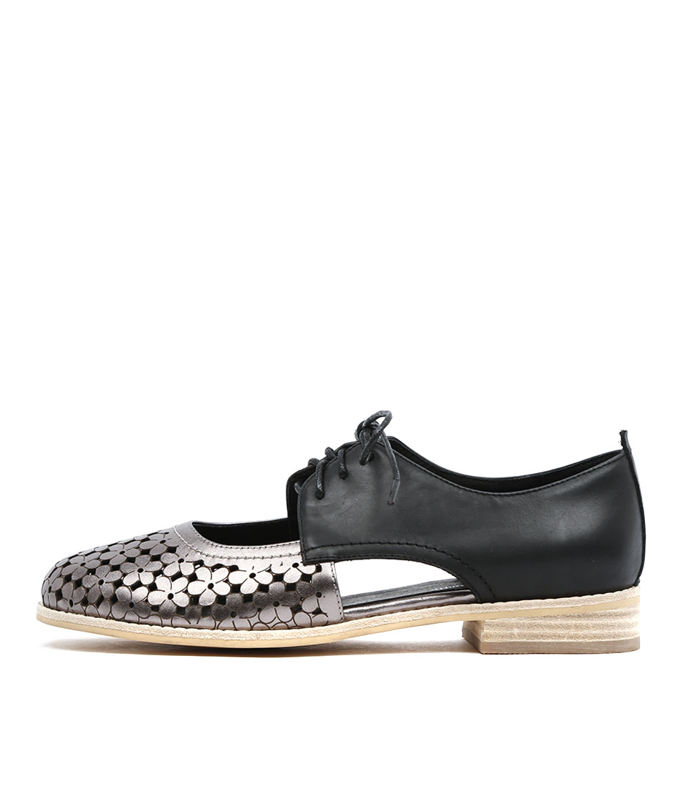 Django & Juliette Amara Pewter Black Flat Shoes