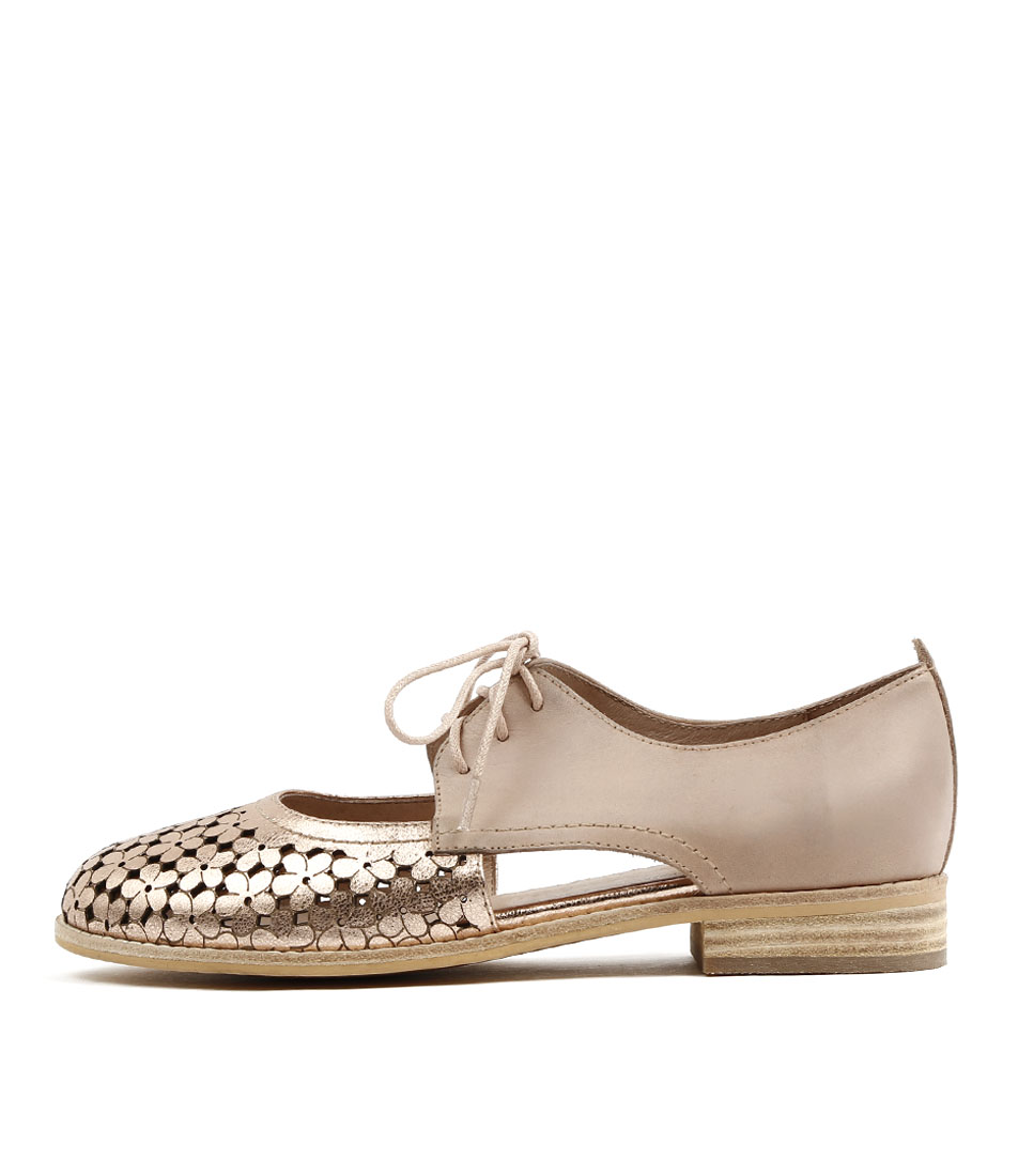 Django & Juliette Amara Rose Gold Dk Nude Flat Shoes