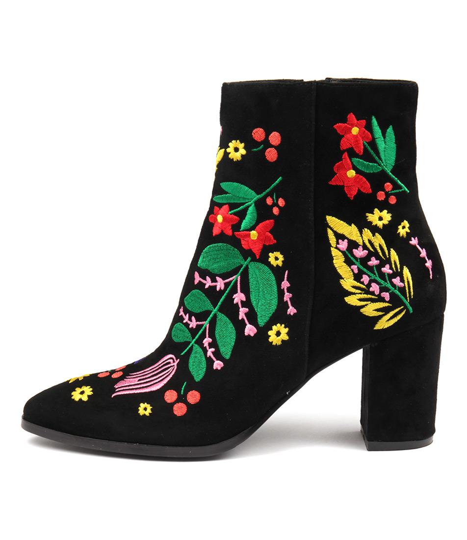 Django & Juliette Amato Black Bright Em Ankle Boots