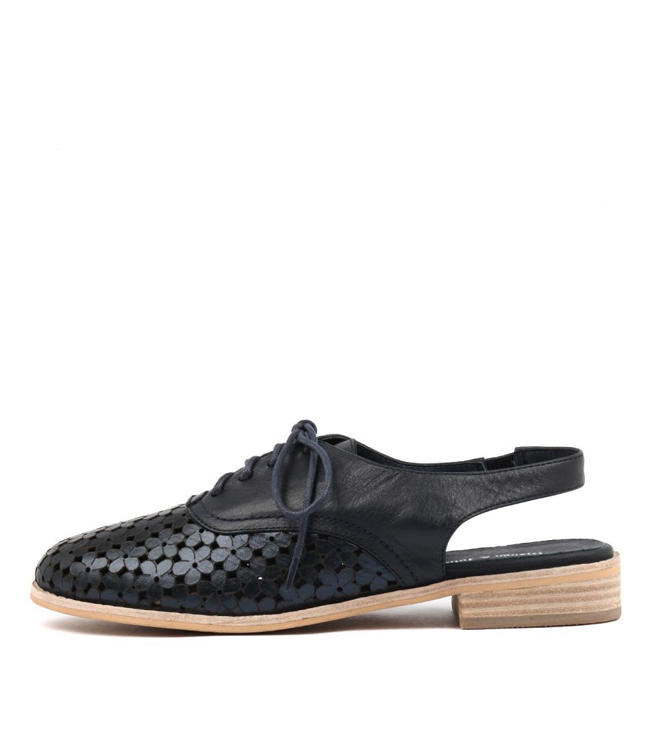 Django & Juliette Anabel Navy Metallic Navy Flat Shoes
