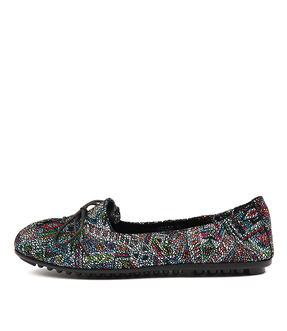 Django & Juliette Ballad Black Aztec Flat Shoes