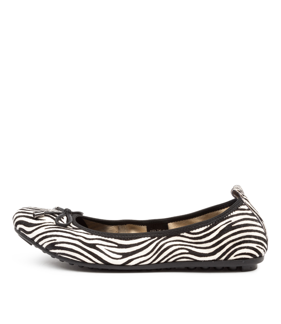 Buy Django & Juliette Belin White Zebra Black Flats online with free shipping