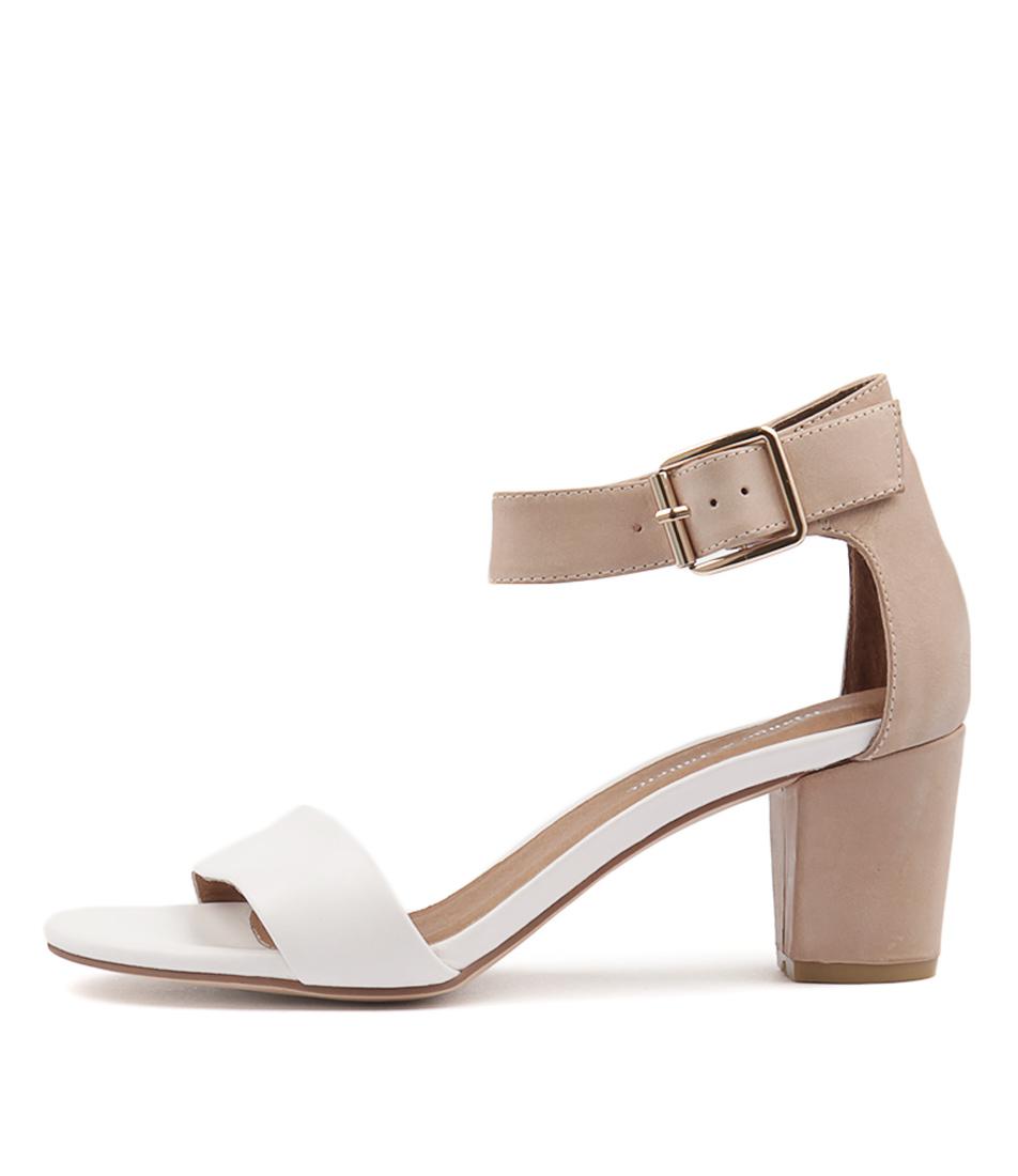 Django & Juliette Cassier White Dark Beige Heeled Sandals