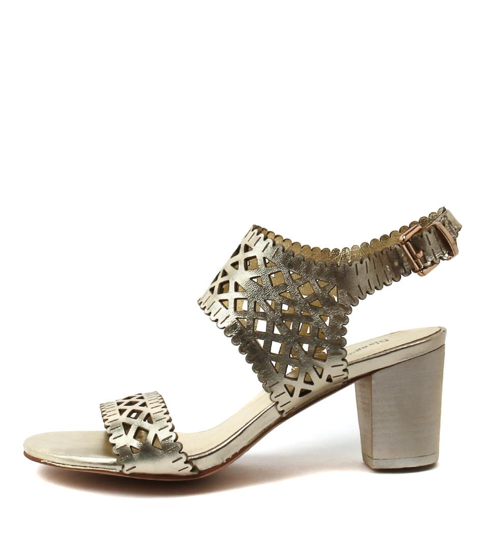 Django & Juliette Caviar Pale Gold Dress Heeled Sandals