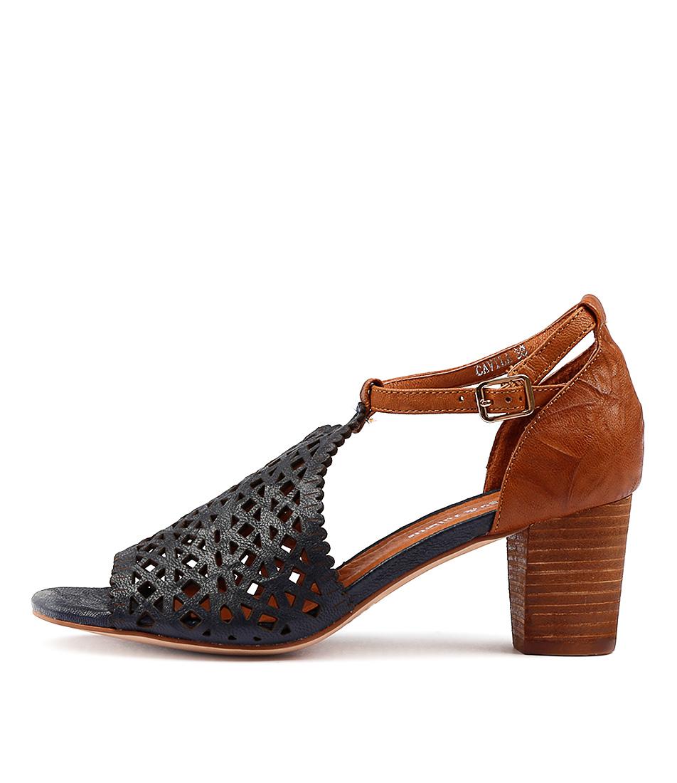 Django & Juliette Cavila Navy Tan Heeled Sandals