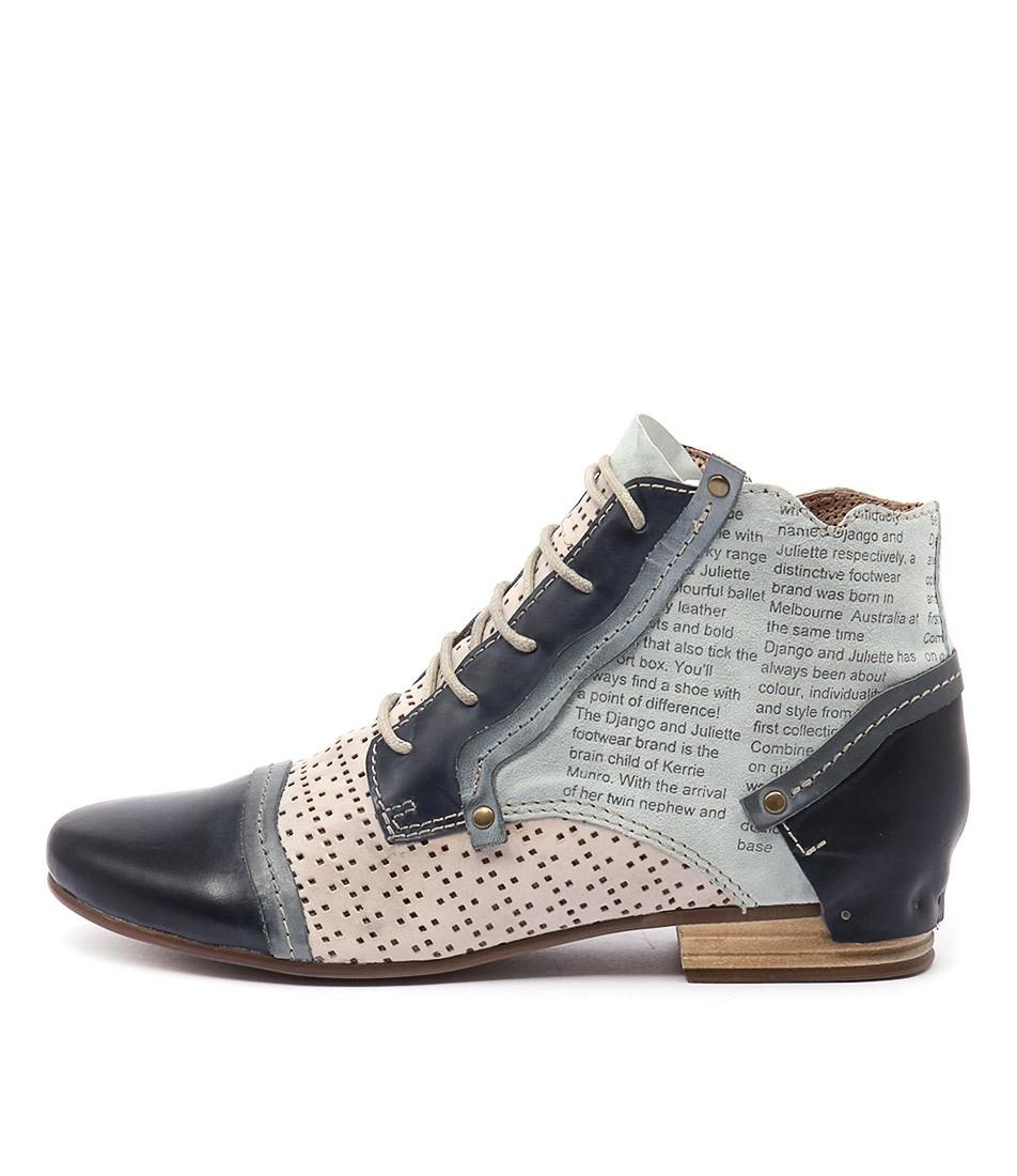 Django & Juliette Dandle Blue Multi Ankle Boots