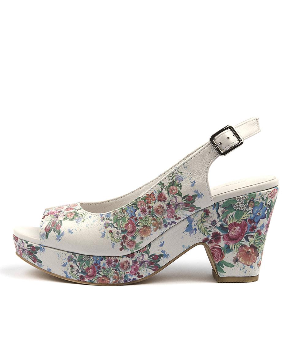 Django & Juliette Elfs White & Flowers Casual Heeled Sandals